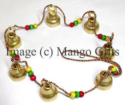 Hanging Bells Ghanti Brass Mobile Decorative 7 Tinkling Bell String Indi... - $17.16