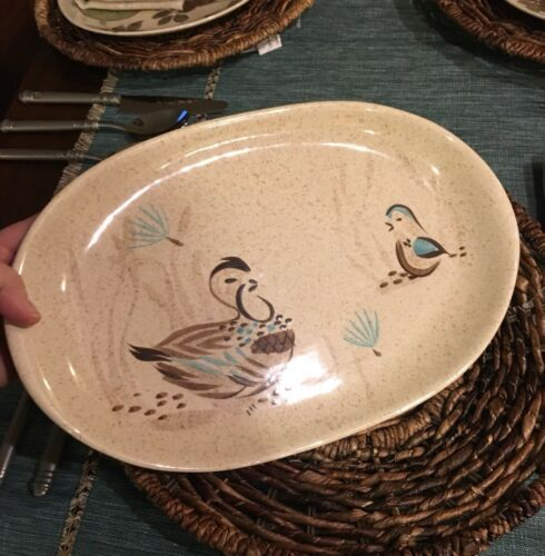"RED WING POTTERY BOB WHITE Blue Quail Bird Lg 14"" oval serving tray Platter #130"