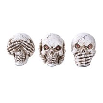 Three Wise Ghastly Skulls See Hear Speak No Evil Skeleton Skull Collecti... - $28.99
