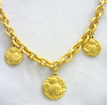 """Disney Mickey Mouse Charm Golden Heavy Link Necklace Textured 18"""" - $18.80"""