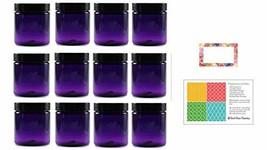 Purple 8 oz Plastic Jars with Black Lids 12 pk with Floral Labels - PET ... - $20.15
