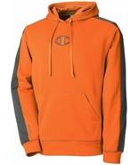 Champion Mens Sweatshirt Sz M Persimmon Orange Gray Hooded Pullover Doub... - $39.53