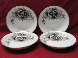 FOUR (4) I CHINA made in Japan Handpainted BLACK ROSES Pattern 5272 FRUI... - $26.41