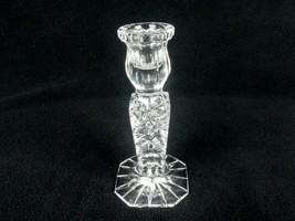 Cut Crystal Candlestick, Square Column, Pinwheel Button Center, Starburst Bottom - $24.45