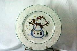 GEI Snowman Holly Rim Dinner Plate GC16 - $5.54