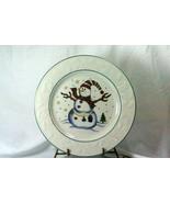 GEI Snowman Holly Rim Dinner Plate GC16 - $5.03