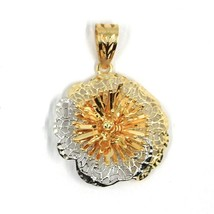18K YELLOW WHITE GOLD FLOWER, ONDULATE, FINELY WORKED TWO TONE 2cm PENDANT image 1