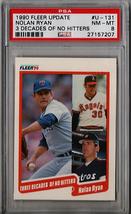 1990 Fleer Update Nolan Ryan 3 Decades of No-Hitters #U-131 PSA 8 P581 - $8.80