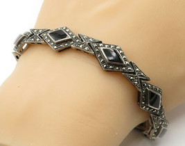 925 Sterling Silver - Vintage Black Onyx & Marcasite Chain Bracelet - B6817 - $72.65