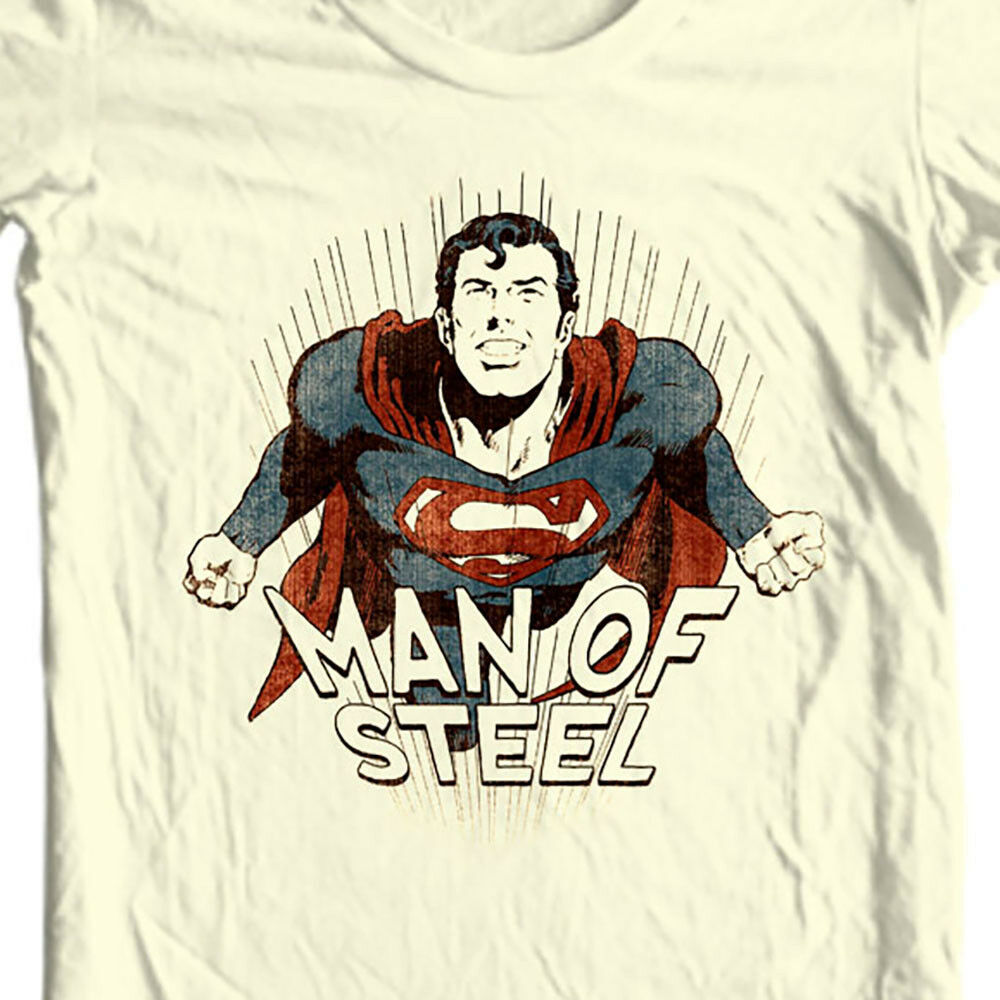 Man of Steel Superman T-shirt Classic Golden Age DC comics graphic tee SM1932