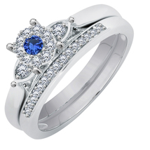 Round Cut Sapphire Bridal Engagement Ring Set 14K White Gold Over - $79.99