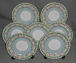 Set (7) Aynsley Bone China BASKETWEAVE FLORAL PATTERN Salad/Cake Plates ... - $63.35