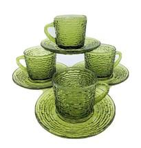 Set of 4 Soreno Glass Coffee Cups & Saucers VTG Anchor Hocking Avocado G... - $28.95