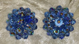 Vintage earrings blue glass crystal beads cluster button clipon  103 - $25.00