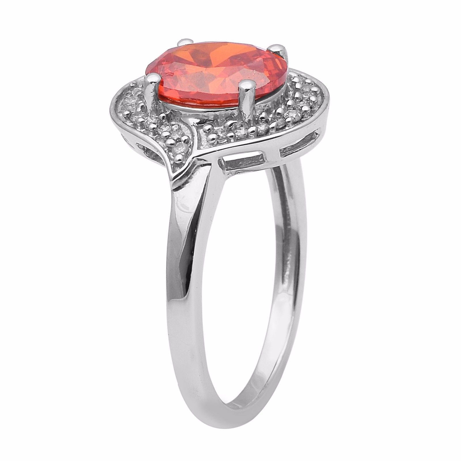 Orange Color Cubic Zirconia Sterling Silver Ring Shine Jewelry Size-8 SHRI1365