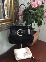 Coach Evening Bag Black Sateen Studs Leather Kisslock 3579 B2K - $87.07