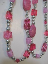 """Pink Silver Face Mask Necklace 38"""" w Multi Size Bead Lanyard Masklace Ha... - $8.37"""