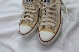 Converse All Star Size 7 Cream/white Canvas lo top Sneakers Shoes - $17.82