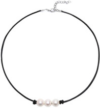 Boosic 3 Imitation Pearl Cord Necklace for Women, 13' Black - $27.86