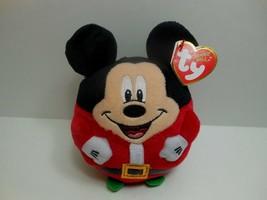 """TY Christmas Mickey Mouse Beanie Ballz 5"""" Plush Disney Beanie Ballz 2013 - $15.09"""