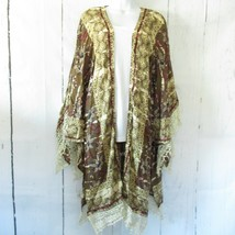 New Angie Kimono L Large Olive Green Floral Tie Dye Bleach Boho Peasant ... - $37.39