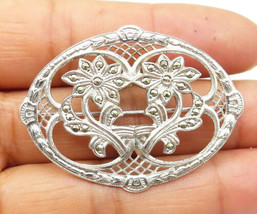 925 Silver - Vintage Marcasite Accented Floral Design Shiny Brooch Pin -... - $37.58
