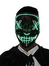 Disrerk LED Mask - Halloween Scary Mask, EL Wire Light up for Halloween ... - £5.40 GBP