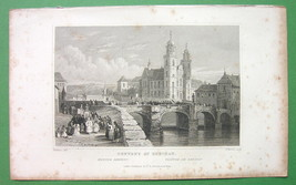 GERMANY Convent of Rheinau on Rhine River - 1832 Antique Print - $5.74