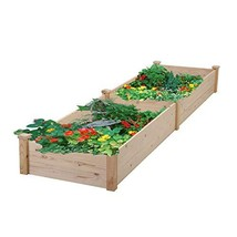 "Leisurelife Raised Garden Bed Planter, Wood, 97"" x 24"" x 10"", Tool-Free - $117.54 CAD"