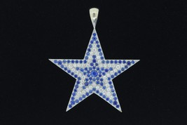 "Custom 14K White Gold ""Dallas Cowboys"" Pave Sapphire and Diamond Star Pe... - $1,125.00"