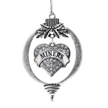 Inspired Silver Miners Pave Heart Holiday Decoration Christmas Tree Orna... - $14.69