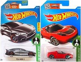 Hot Wheels Tesla Model S and Tesla Roadster HW Green Speed 2 pack - $12.99