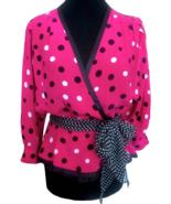 80s LOUIS FERAUD 100% Silk Hot Pink Black Polka Dot Dolman Sleeves Plung... - $85.00