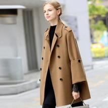 Women English Vintage Winter Solid Double Breasted Cloak 100% Wool Trench Coat image 4