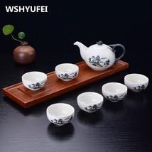 WSHYUFEI 7PCS snowflake tea set Jingdezhen ceramic Tea Pot - $43.95