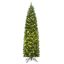 7.5 ft Pre-lit Hinged Pencil Christmas Tree with Pine Cones Red Berries - $166.41
