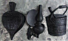 VINTAGE SEXTON BLACK CAST IRON WALL DECOR OIL LAMP, BUCKET AND BELLOWS M... - $18.99