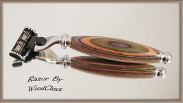 Handmade Colorgrain Wood D.E Safety Gillette Mach 3 Fusion Shaving Razor... - $40.55