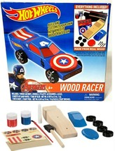 Hot Wheels Marvel Captain America Wood Racer (ages 6+)  Made in Real Wood - NiB - $19.79