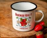 Vintage Fresh Strawberries Enamelware Mug