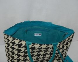 GANZ Brand ER39334 Style 101 Large Burlap Black Cream Purse Teal Handle image 4