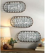 Metal Country Farmhouse Basket Sentiment Wall Decor in Welcome Family or... - $18.58+