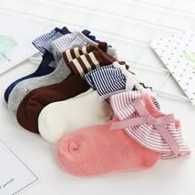 Baby Girls Warm Cotton Socks Bow Stripes Princess Frilly Ankle Socks Sho... - $6.79