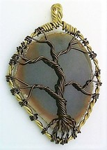 Tree Of Life Agate Brass Wire Wrap Pendant 93 - $27.82