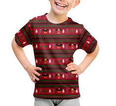 Christmas Mickey & Minnie Sweater Pattern Disney Inspired Kids Sport Mesh T-Shir - $37.99 - $40.99