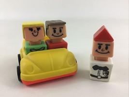 Playskool Vintage Familiar Places Yellow Car 4pc Lot McDonald's Manager Figure - $22.23