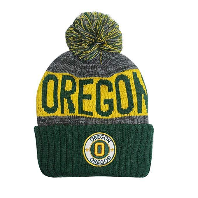 Oregon Men's Winter Knit Landmark Patch Pom Beanie (Green/Gold)