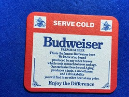 BEER MAT COASTER - TWO SIDED - BUDWEISER SERVE COLD    (FF254) - $5.49
