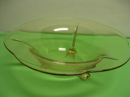 "Vintage Fostoria Glass Pattern #2394 Yellow Flared Three Footed 11 1/2"" ... - $56.99"