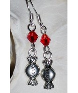 NEW Love Candy Heart Charm Dangle Crystal Red Glass Bead Earrings Valent... - $4.00